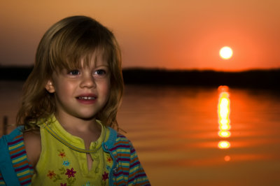 Caitlin at the Cabin at sunset