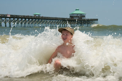 Ryans big splash at Folly beach, South Carolina