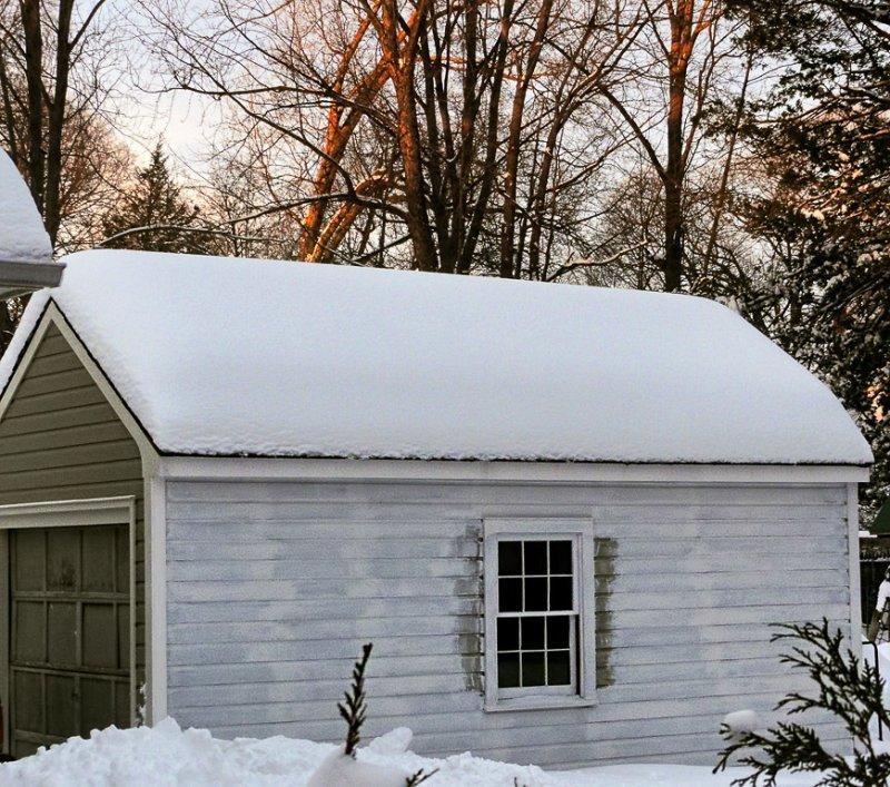Garage at winter dusk