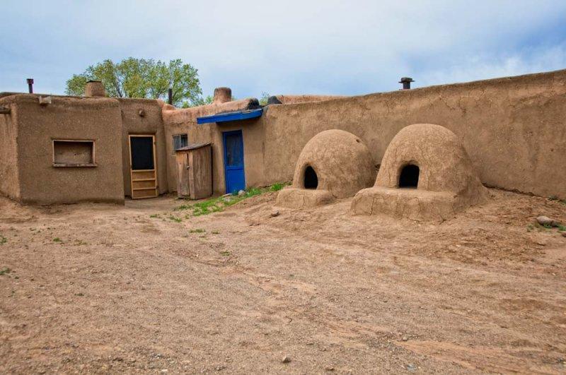 Taos Pueblo,Two Horno Outdoor Adobe Ovens