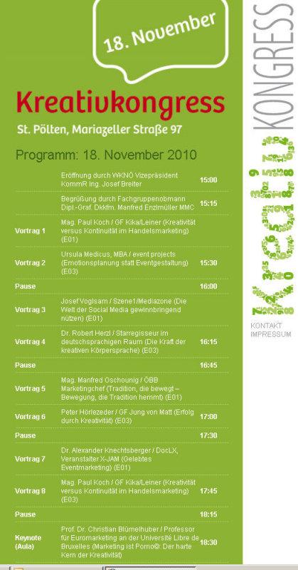 Das Programm des 2. Kreativkongresses
