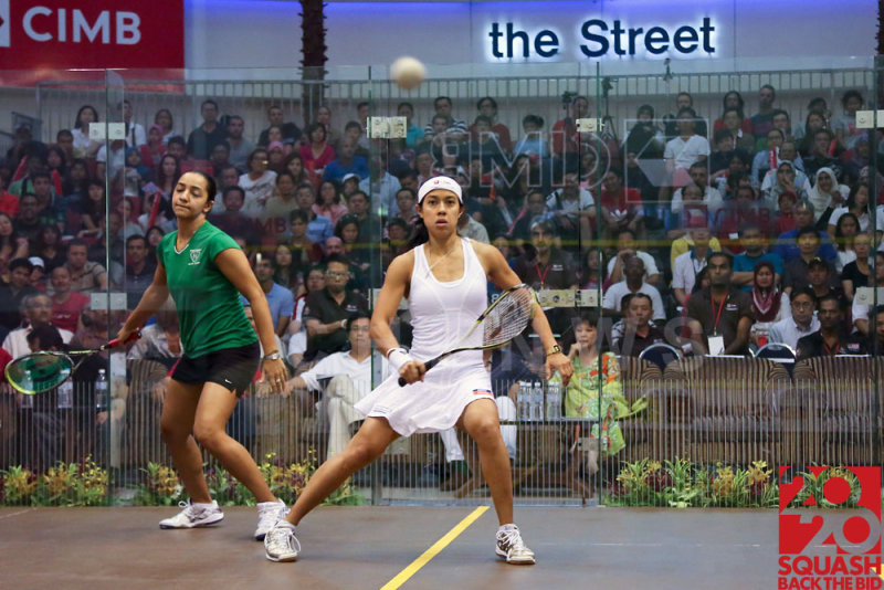 Womens final: Nicol David vs Raneem El Weleily. Raneem created another upset of this final by winning in 4 games.
