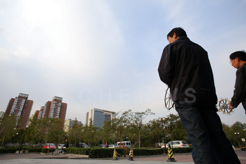 Kite-flying, morning in Beijing