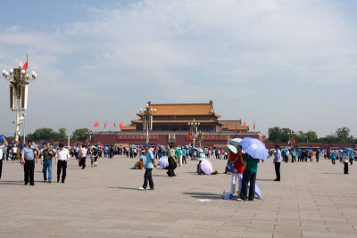 Tourist and security personnel mingled