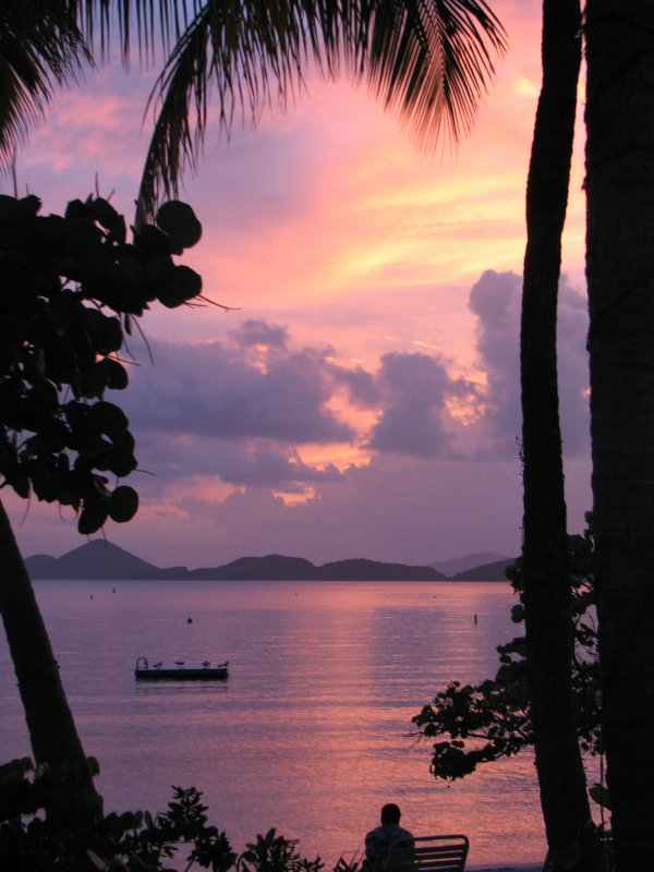 Sunset view at Caneel Resort