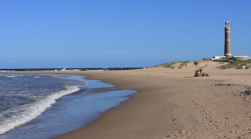 Beach and lighthouse at Jose Ignacio, Uruguay