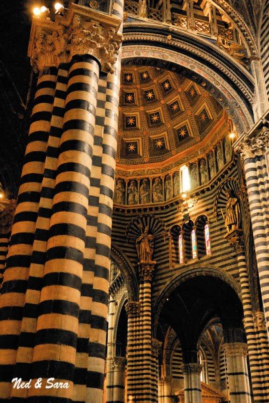 pillars inside  the Duomo of Siena