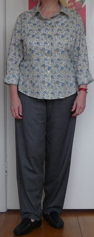 Grey pants with Butterick 4609 on top