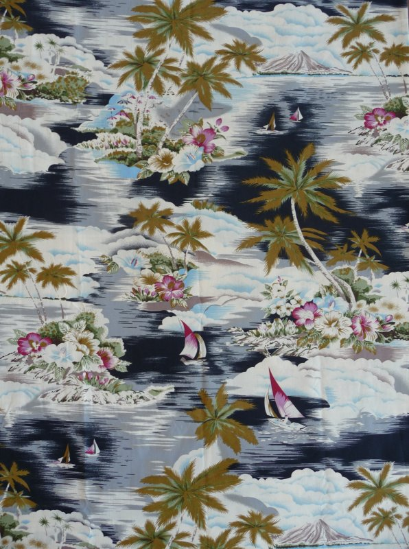 Fabric detail: Tropical Tradewinds by Hoffman Fabrics