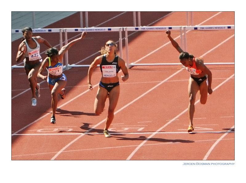 Lolo Jones wins the 100 m hurdles
