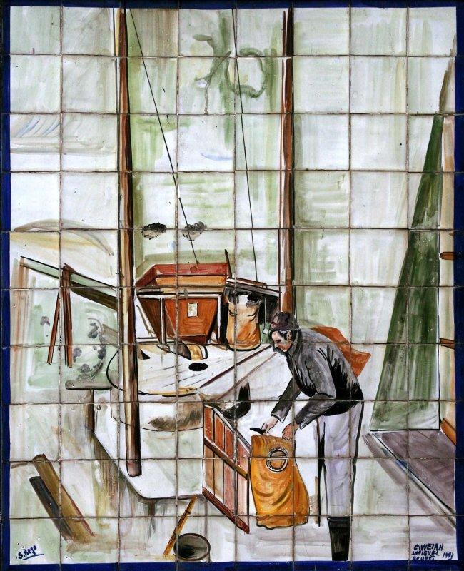Farmer depicted in this tile arrangement