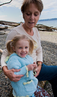 At the beach with Gramma