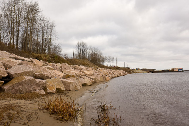 Rocks placed to protect shoreline from ice