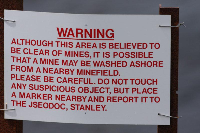 Warning sign, Gypsy Cove