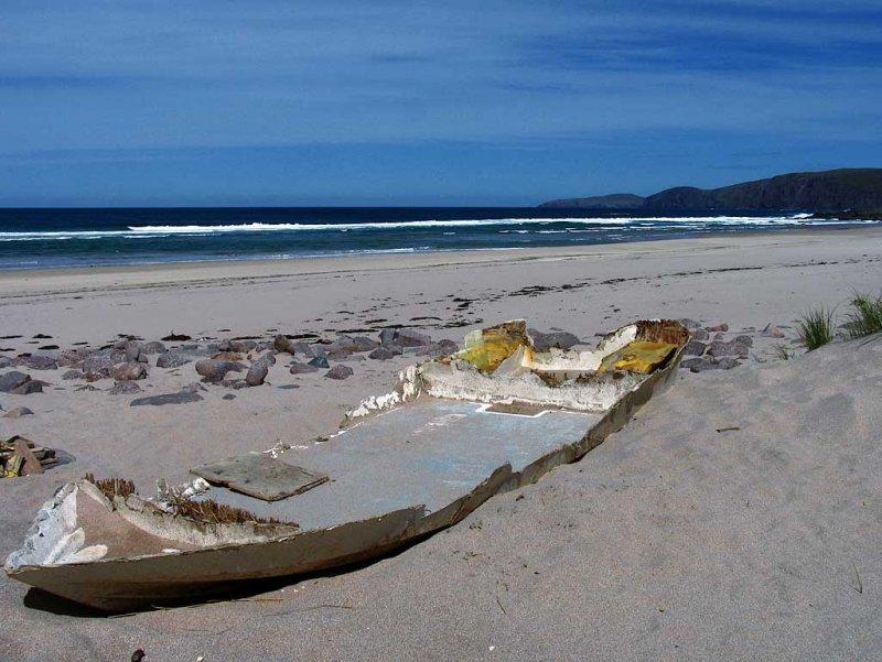 Wreck on Sandwood Bay
