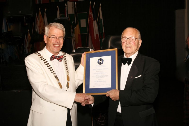 District Governor Bill Macfarlane Smith and Bill McConnachie