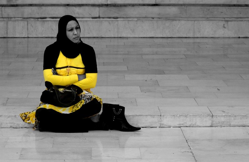 In Yellow - Patio of The Omayyad Mosque