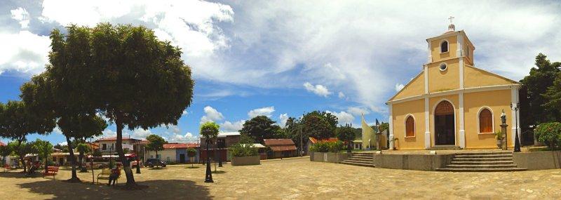 Catholic Church and main city park in San Juan del Sur, Nicaragua