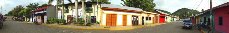 The street with Azul Beauty & Spa and Buena Vida Fitness Center in San Juan del Sur, Nicaragua