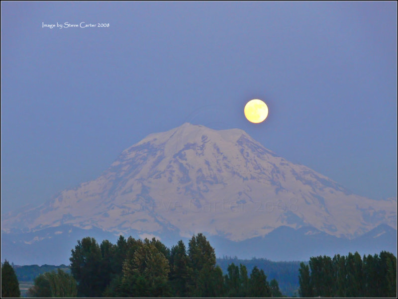 Spring Moonrise over Mt. Rainier