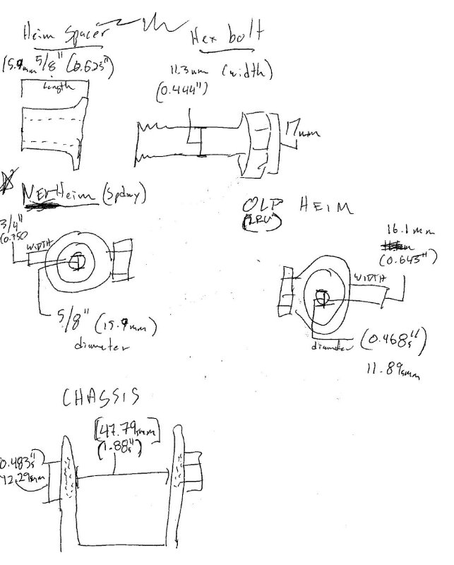 Measurements for rear tie rod heims