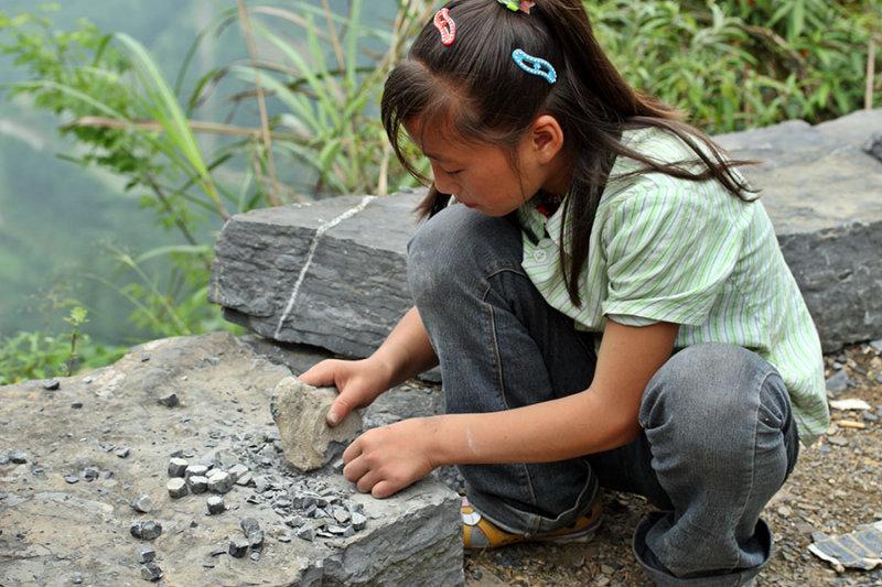 The making of stone jacks.