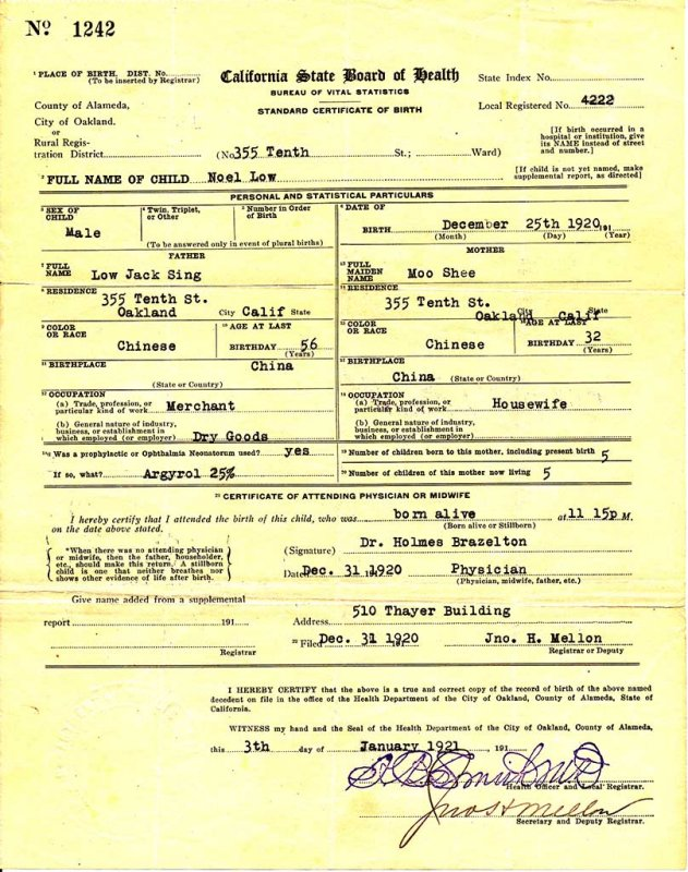 Noel Frederick Lowe Birth Certificate