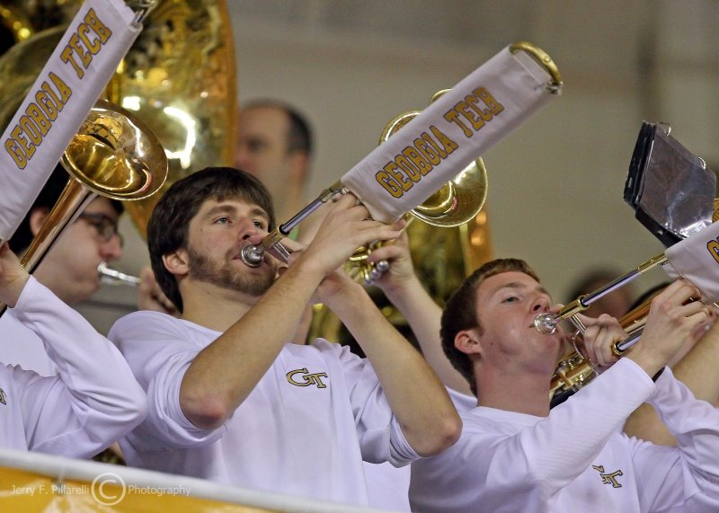 Georgia Tech band plays during a break in the action