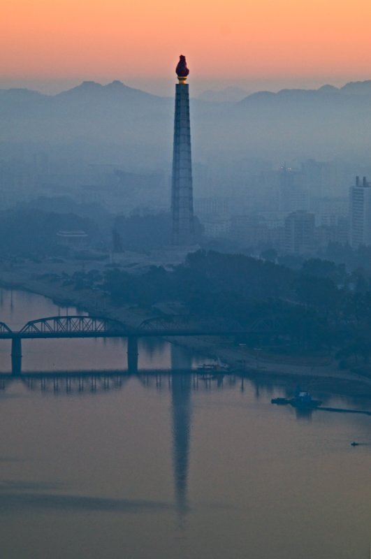 Juche Tower at sunrise