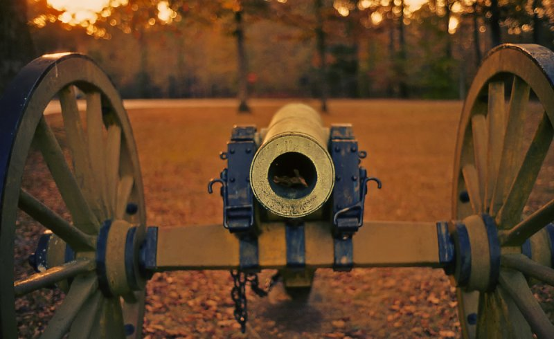 Cannon in Autumn Sunset