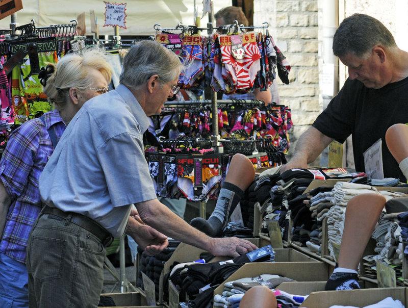 buying socks at street markets