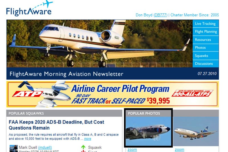 2010 - HFF restored Eastern Air Lines DC-7B N836D on front page of FlightAwares daily newsletter