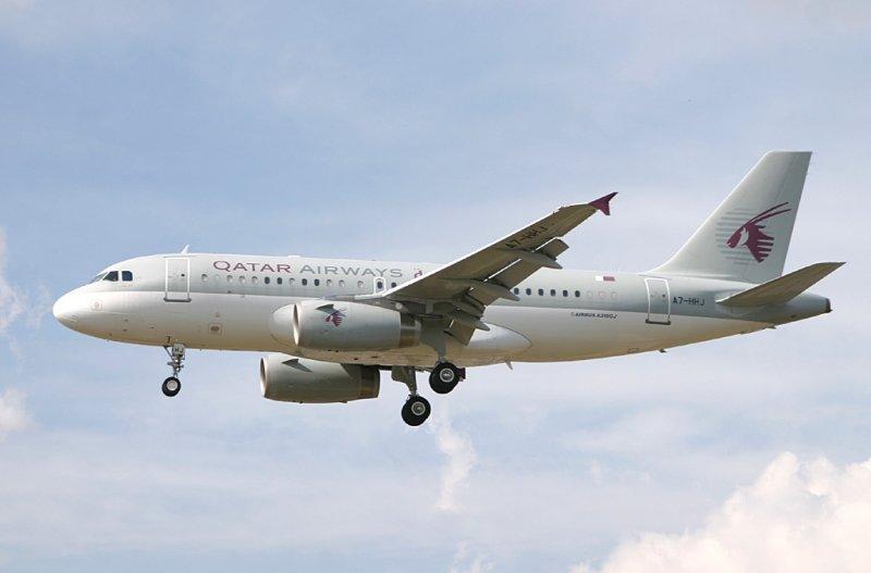 Qatar A-319 on VIP flight to LHR 27L