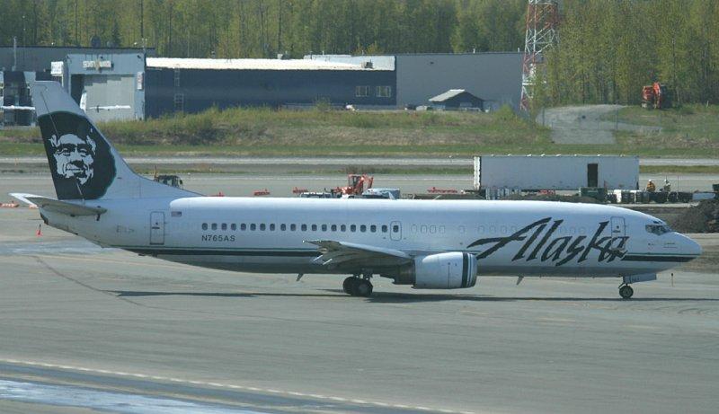 Alaska 737 Combi departing ANC
