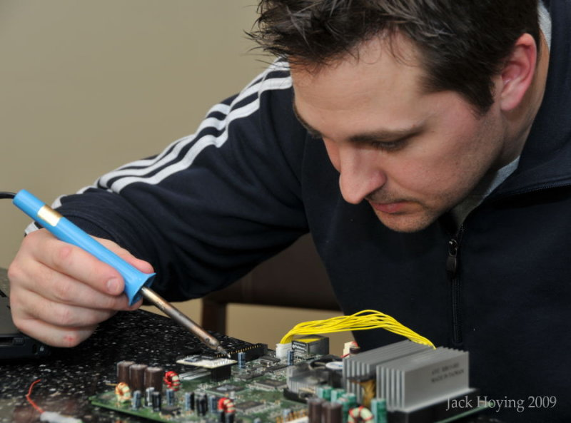 Soldering on a motherboard