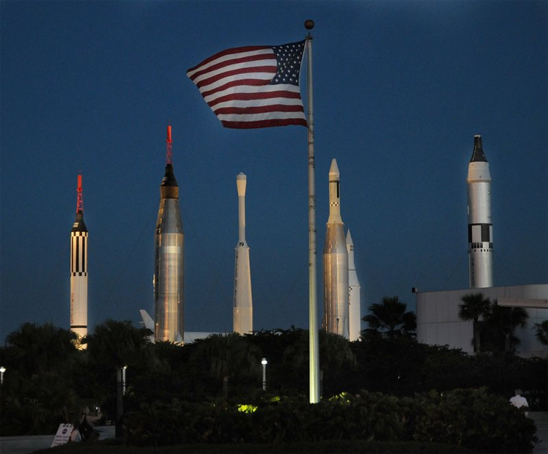 Pre-dawn view of the Rocket Garden, Kennedy Space Center