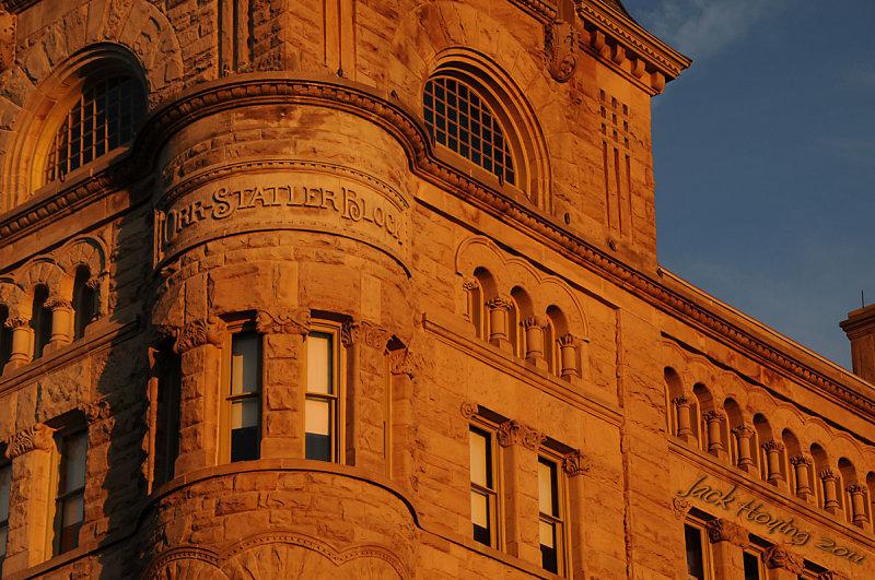 Sunrise on the Orr-Statler Block building (Plaza Hotel, Piqua Hotel, Piqua Library)