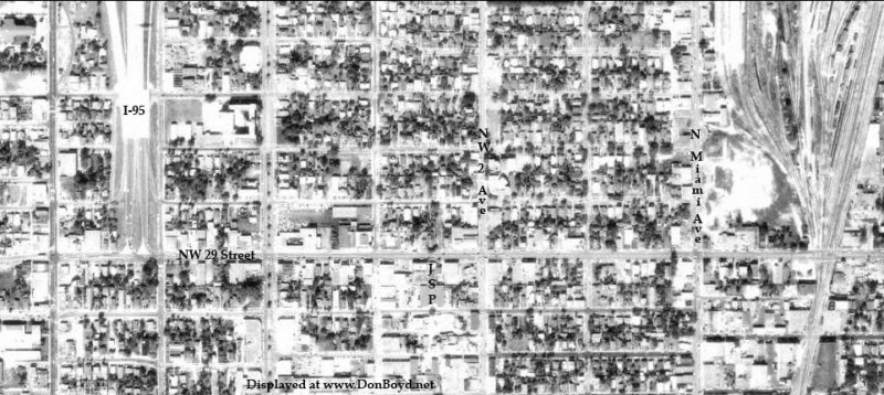 1963 - aerial view of when I-95 ended at NW 29th Street and NW 5th Avenue, Miami