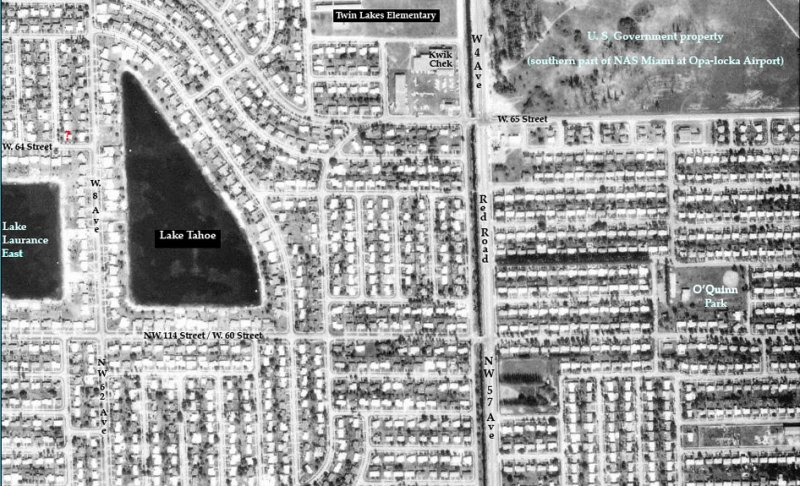 1963 - aerial view of north Hialeah with Lake Tahoe, Twin Lakes Elementary and OQuinn Park