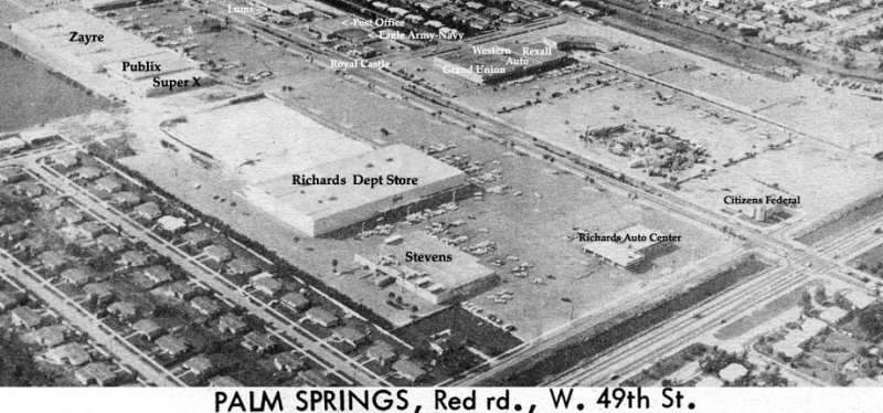 1964 - the east end of Palm Springs Mile looking northwest featuring the stand-alone Richards department store