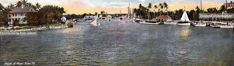 1910 - a panoramic view of the mouth of the Miami River with Royal Palm Hotel on the far right