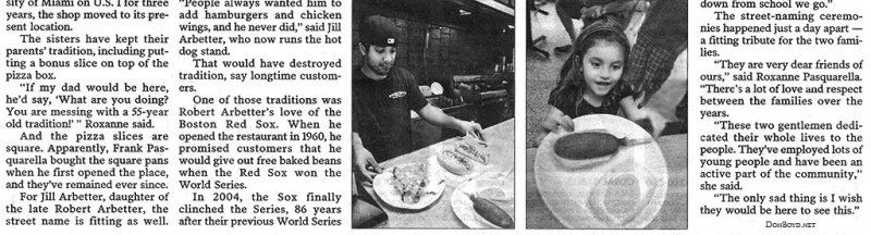 2010 - Miami Herald article about Frankies Pizza and Arbetter Hot Dogs on Bird Road