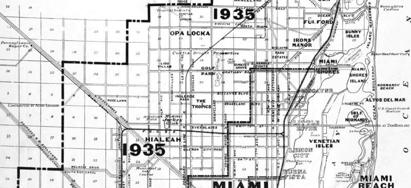 1925 - map of old Miami and surrounding environs in 1925, Fulford to Buena Vista, and projected growth by 1935