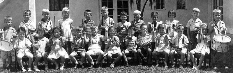 1945 - closeup of Mrs. Browns Kindergarten Band at Coral Gables Elementary School in Coral Gables