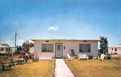 1950s - a solid concrete Atom bomb proof flat roof Hialeah home typical of the homes in the Suntan Village section