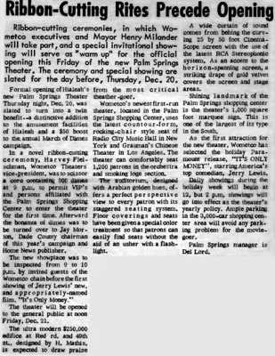 December 1962 - Home News article about the Wometco Palm Springs Theater grand opening