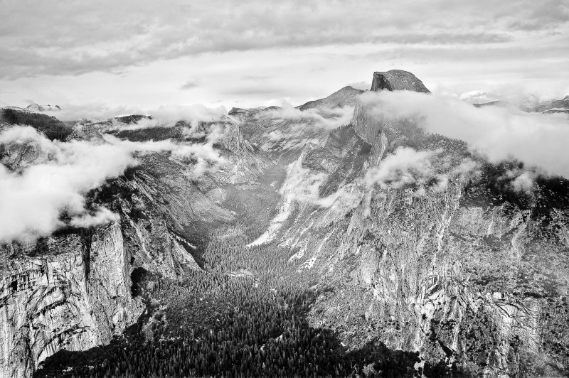 Half Dome Emerging BW