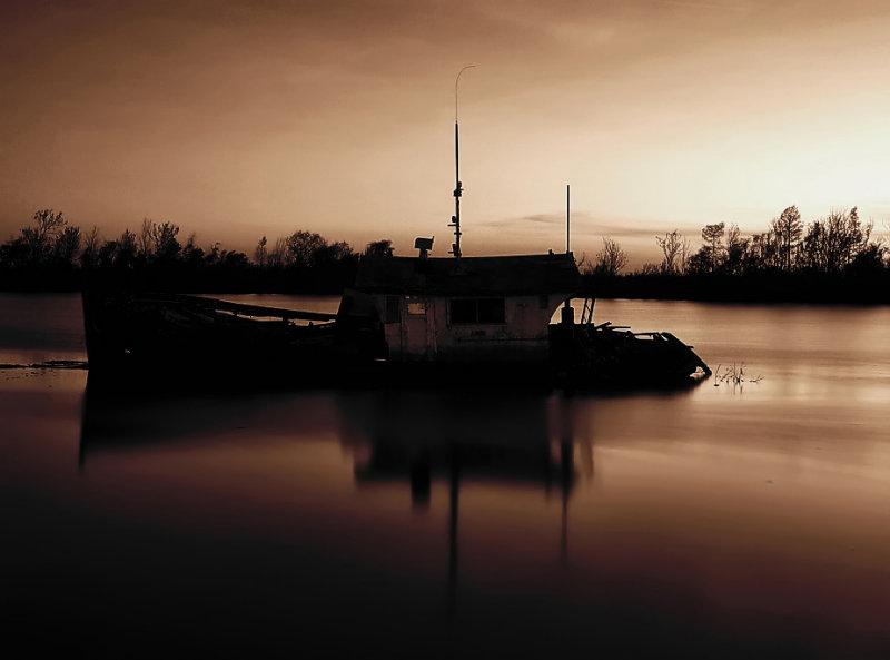 The wreck at Bayou Gauche - sepia version
