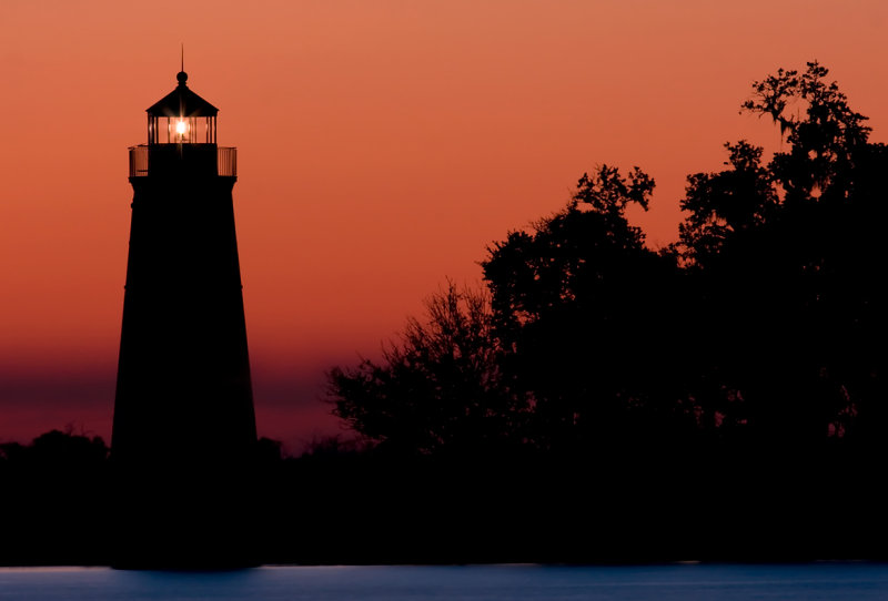 Madisonville Lighthouse after Sunset