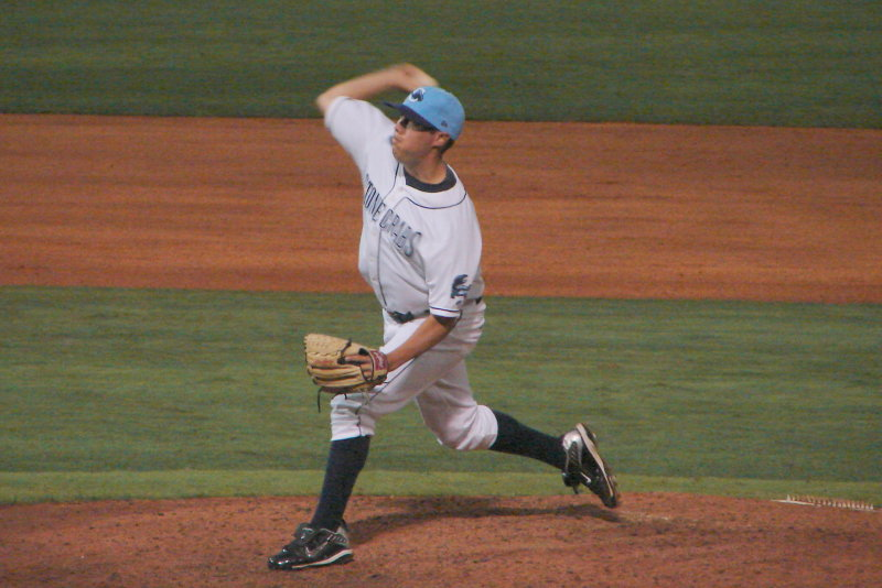 Austin Hinkle takes over the pitching duties for Charlotte